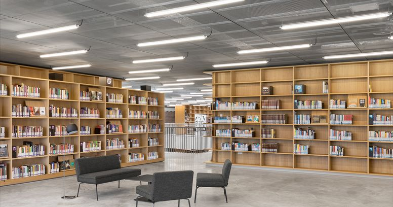 Eclairage projet Indelague bibliothèque UTOPIA Belgique